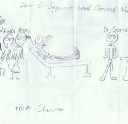 Chiara's drawing at the dentist with the nurses