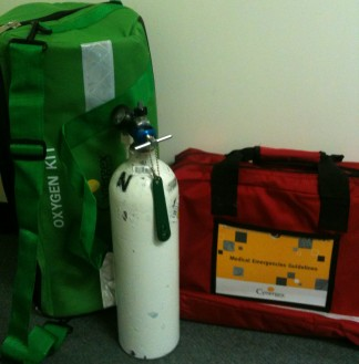 Green Oxygen Bag, Oxygen Tank, Red Bag - Medication & Equipment