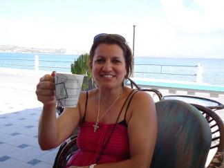 Sue at a taverna at Kefalos. Yia Sou!