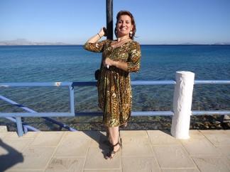 Sue beaming at Kefalos beach