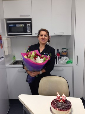 Happy birthday Sue in the new staff room
