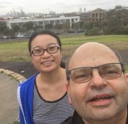 Joy and Anthony - top of the hill training at Sydney Park