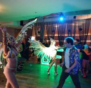 James at the Dance for Abilities Brazilian Carnivale Party with the Dancers and the Band