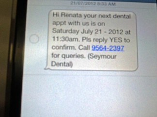SMS reminder and please reply