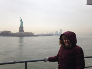 Statue of Liberty with the Manhattan skyline behind me