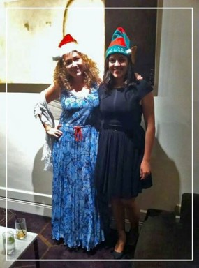 Dilara Santa and sister elf Nazli at the staff Christmas party