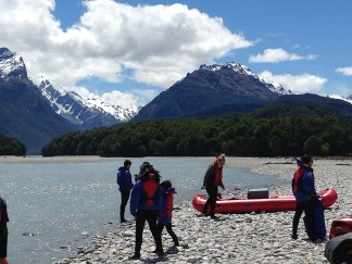 End of a rafting day at Dart River