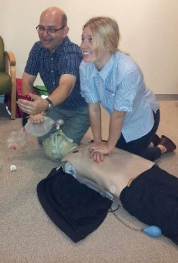 Taking a selfie while doing CPR with Caitlin our casual nurse