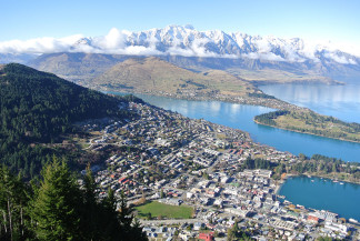 The world is your-oyster. View from the top of Queenstown in winter