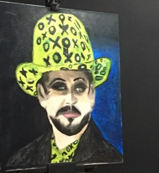 Boy George painted by recently passed away 77 year old Miroma client