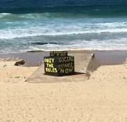 Obey the Rules and Social Distance also applies in the waiting room - one day the beach will be open