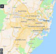 LGAs area of concern (orange colour) in Sydney